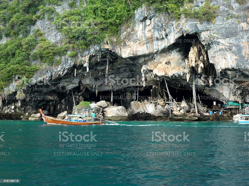 PhiPhi island rocky coastline, Thailand stock photo