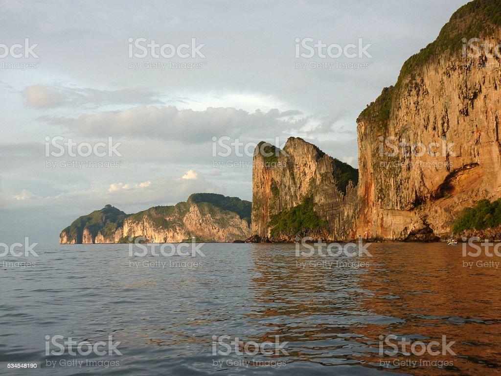 PhiPhi Leh island rocky coastline, Thailand stock photo