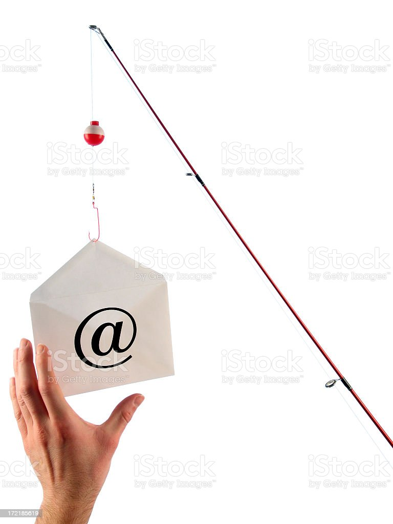 Phishing Concept: Fishing Pole Dangles Email and Hand Takes Bait royalty-free stock photo