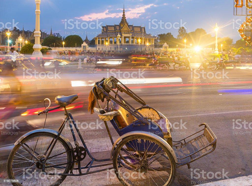 Phnom Penh rickshaw stock photo