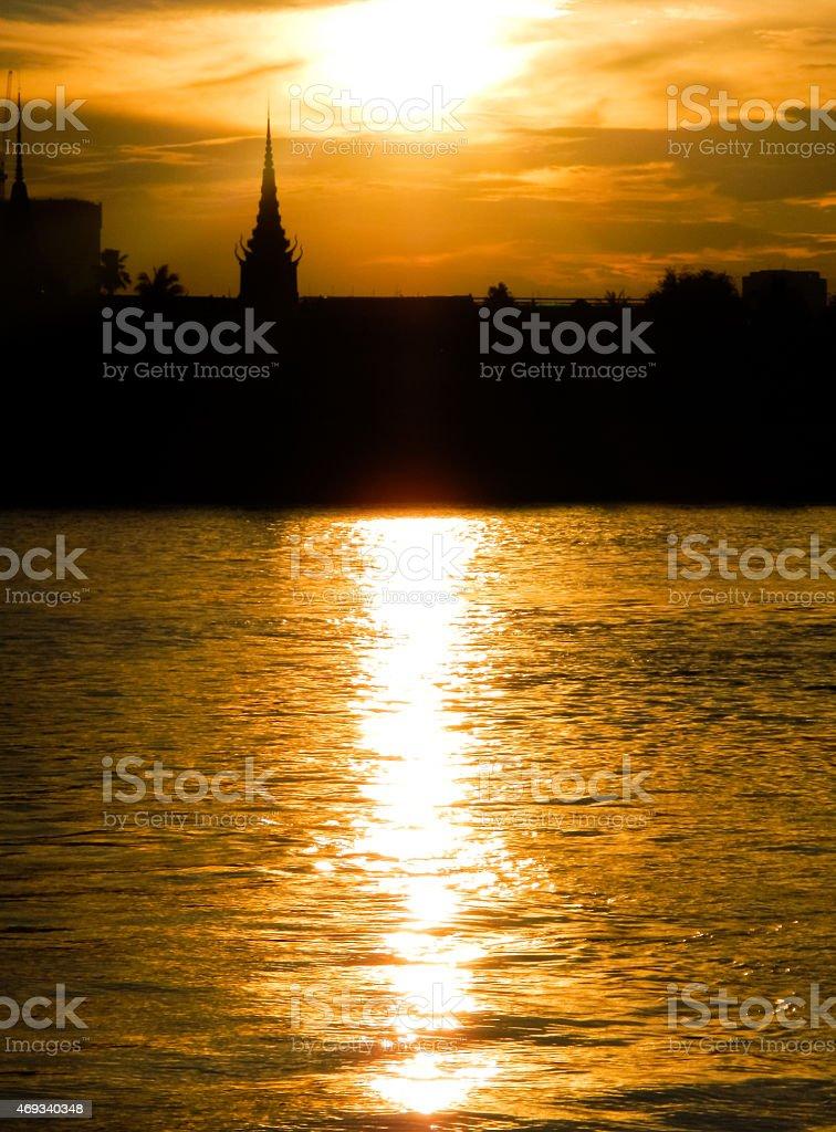 Phnom Penh Sunset on the Tonle Sap stock photo