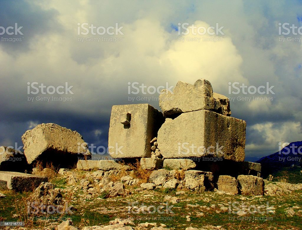 Phoenician Sarcophagi Before a Storm, Lebanon stock photo