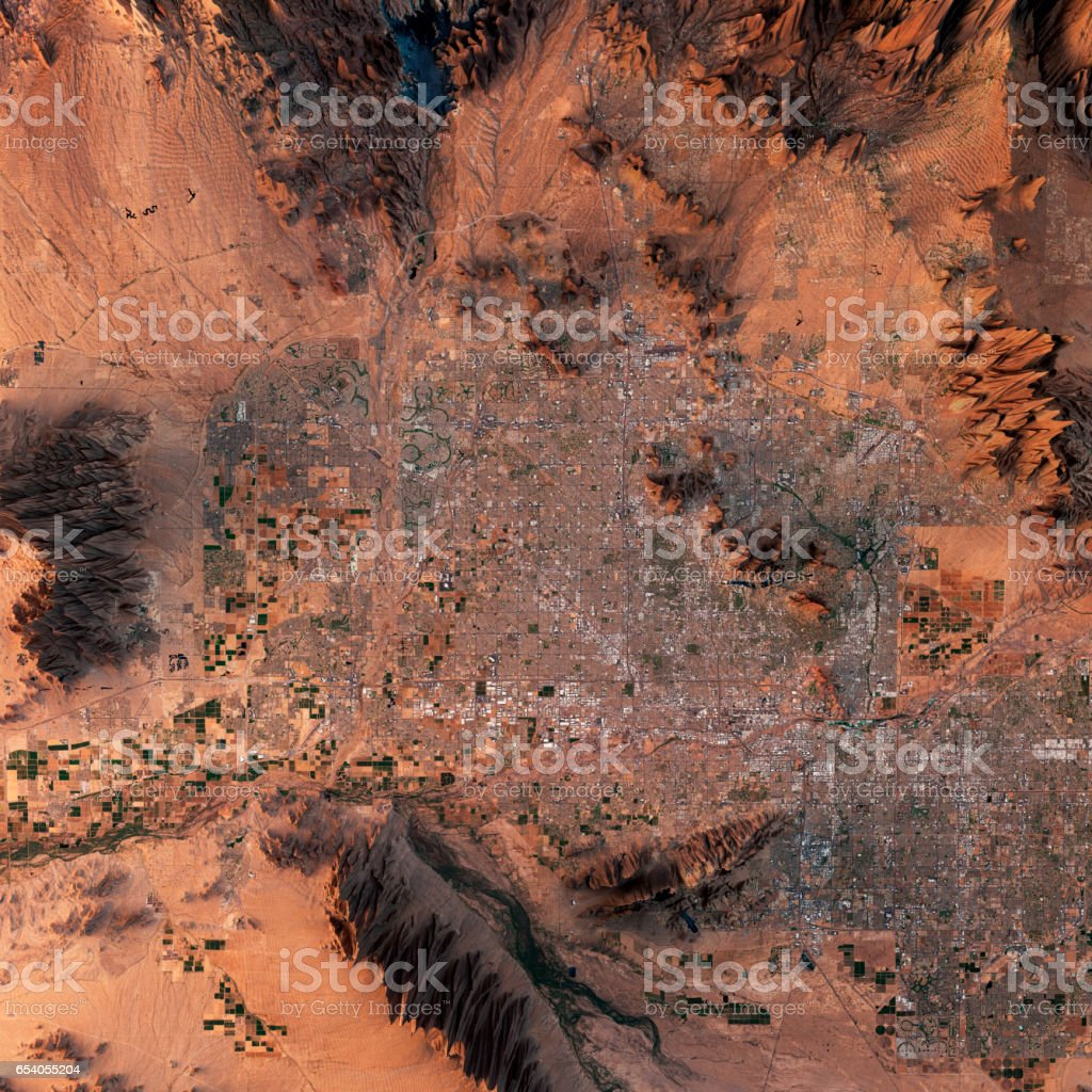 Phoenix 3D Render Satellite View Topographic Map stock photo