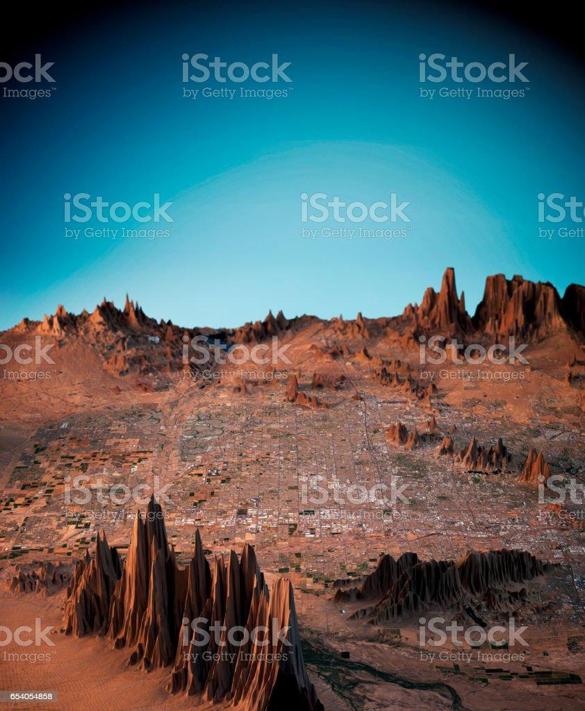Phoenix 3D Render Satellite View Topographic Map Vertical stock photo