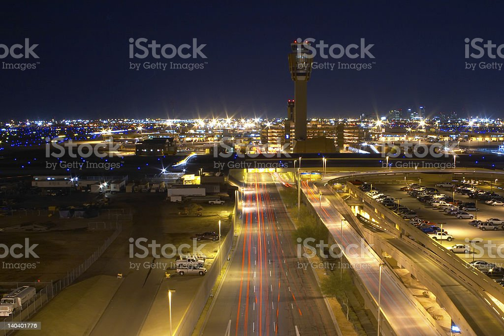 Phoenix airport overview at night royalty-free stock photo