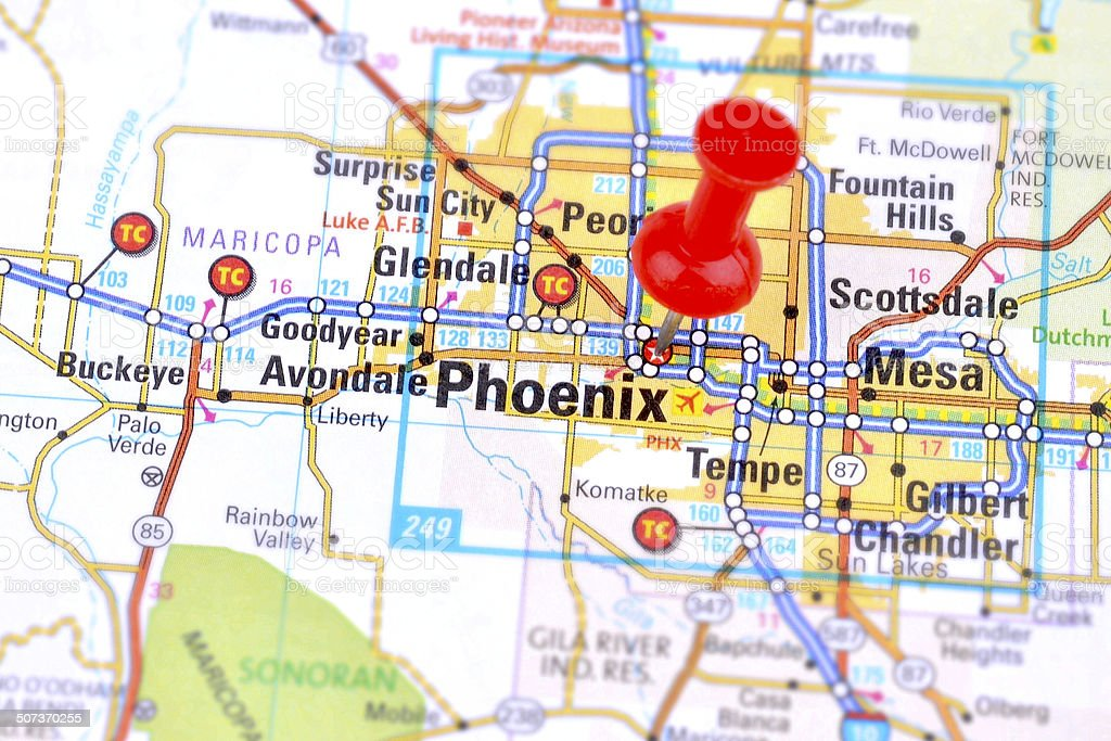 Phoenix and Map stock photo