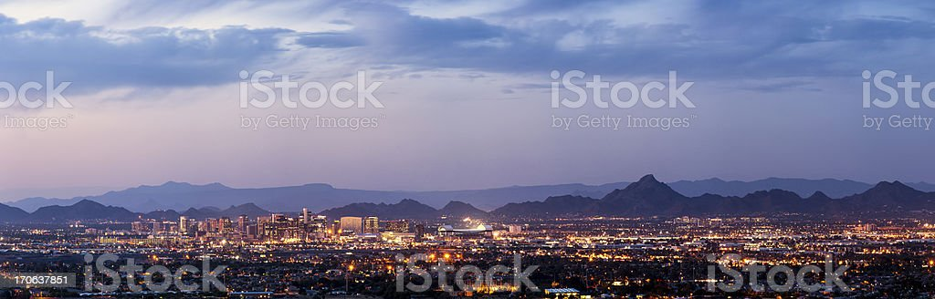 Phoenix and Scottsdale dusk panorama stock photo