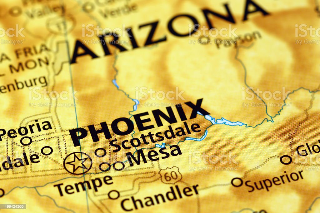 Phoenix area on a map stock photo