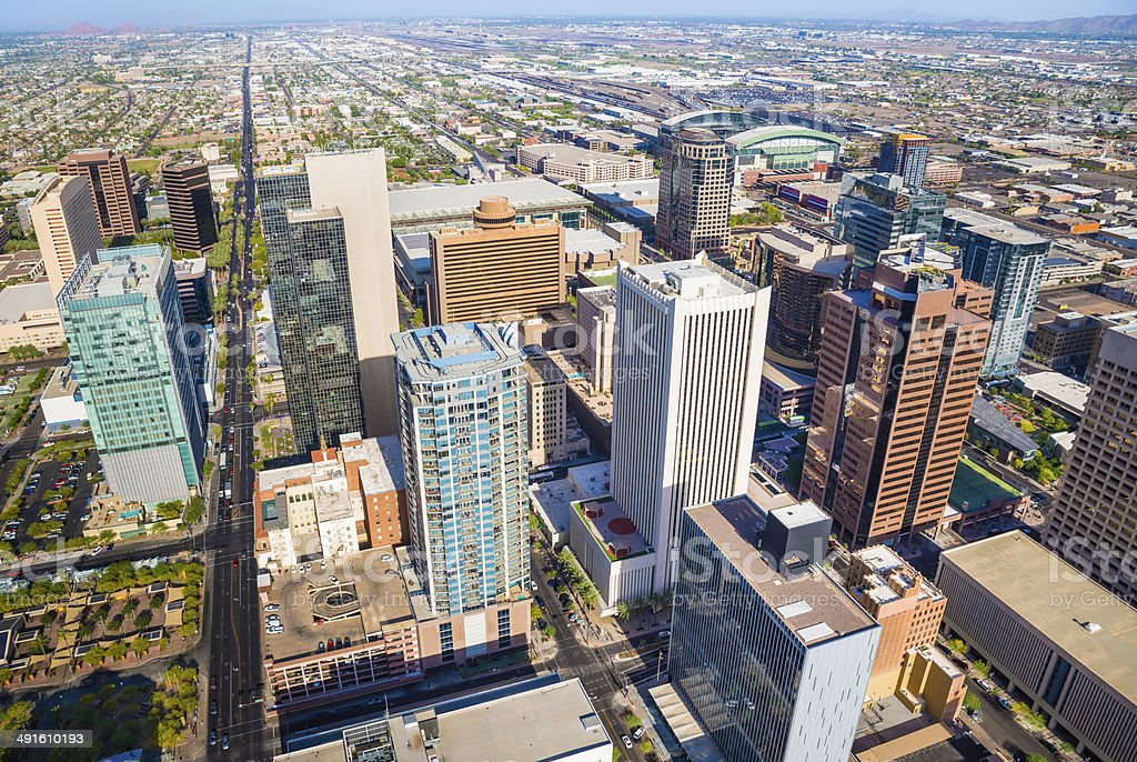 Phoenix Arizona downtown cityscape aerial shot of the skyline stock photo