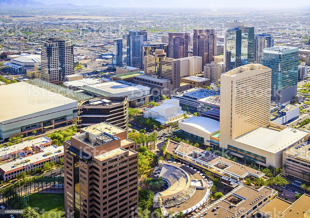 Phoenix Arizona downtown cityscape skyline aerial view of skyscrapers stock photo