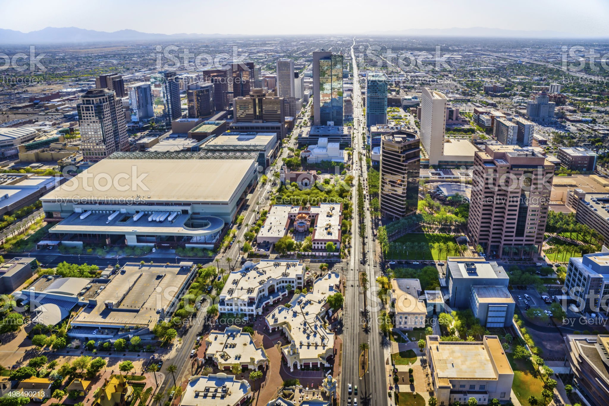 Phoenix Arizona downtown cityscape skyline aerial view of skyscrapers, streets royalty-free stock photo