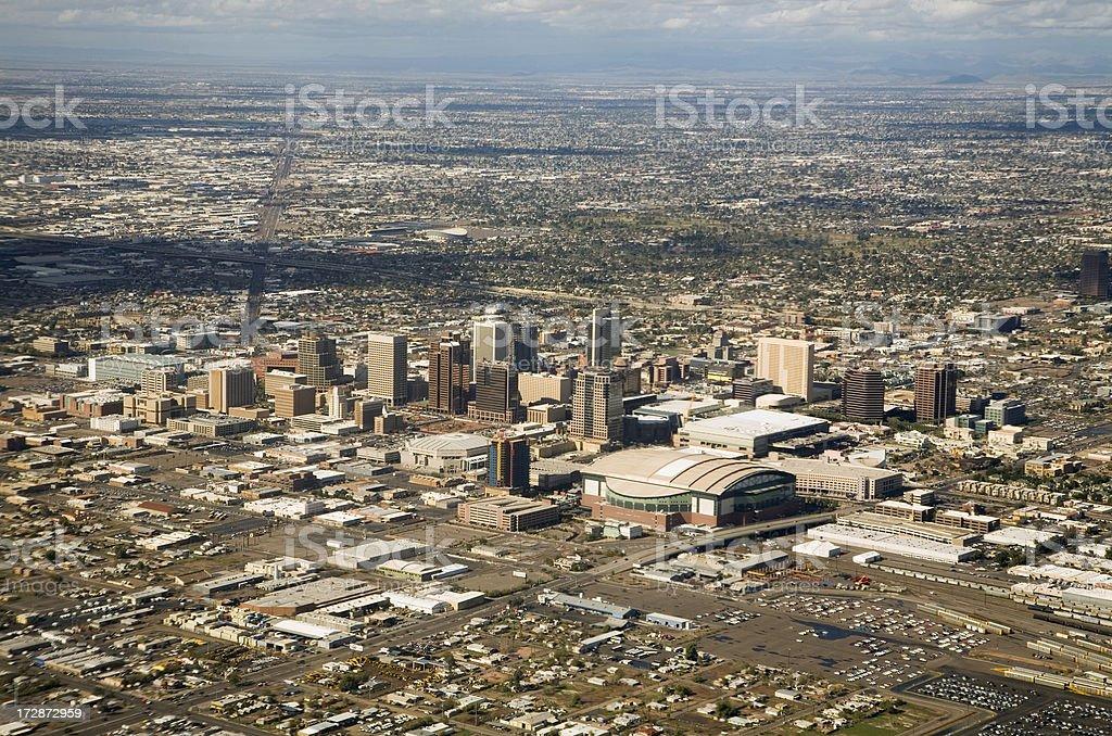 Phoenix Arizona Downtown Skyline Aerial View stock photo