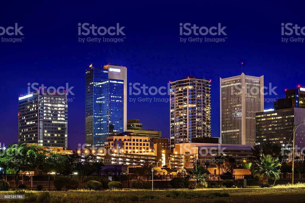 Phoenix Arizona downtown skyline cityscape skyscrapers at night stock photo