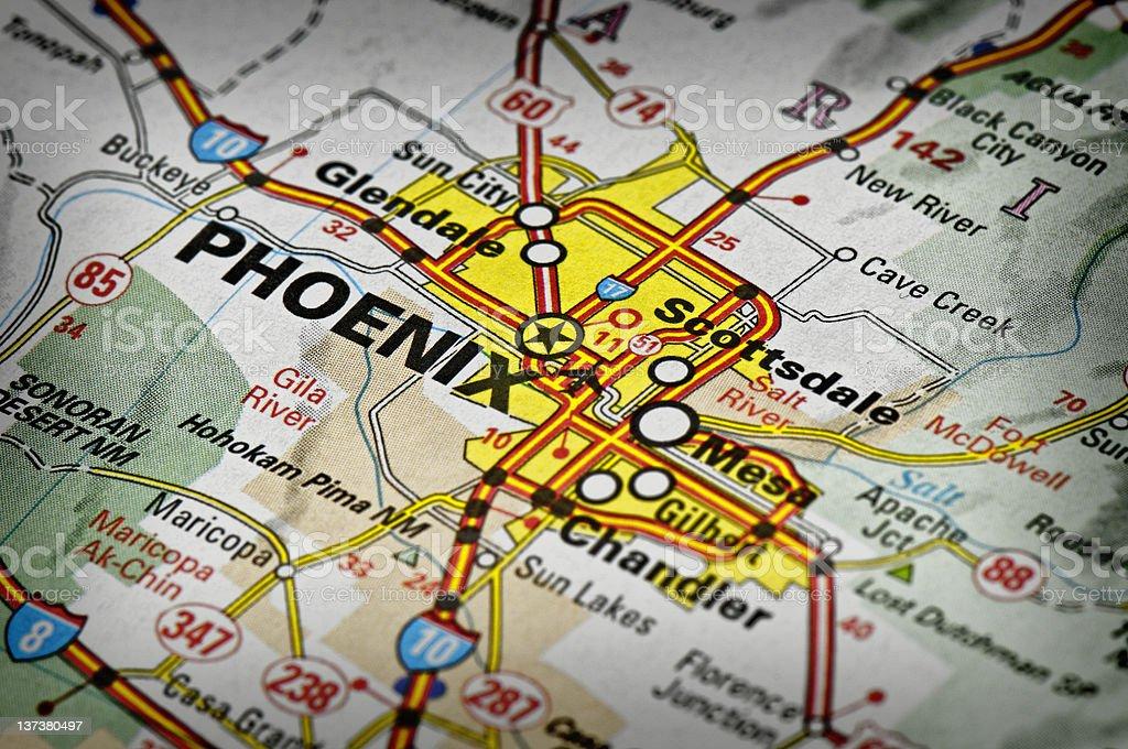 Phoenix, Arizona map stock photo