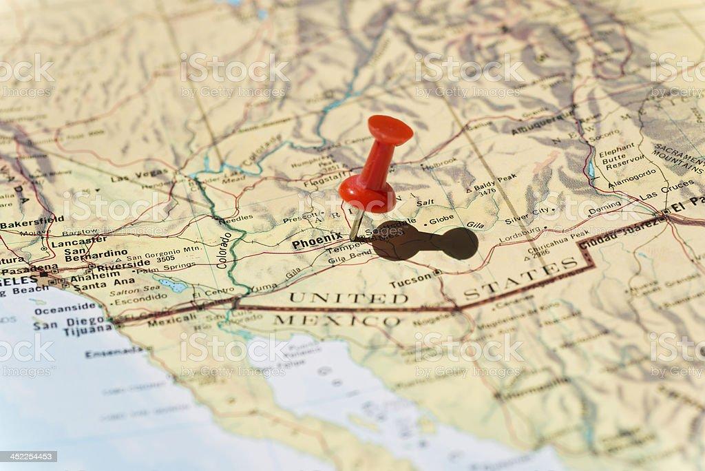 Phoenix Arizona Marked on Map with Red Pushpin stock photo