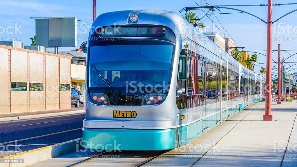 Phoenix Arizona Metro Light Rail - mass transit trolly train stock photo