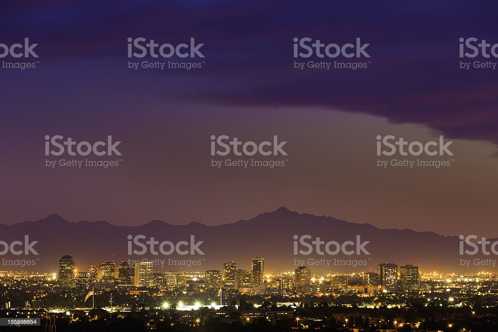Phoenix Arizona skyline cityscape panorama night evening sunset stock photo