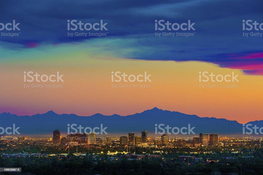 Phoenix Arizona skyline panorama cityscape sunset, aerial from Scottsdale stock photo