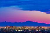 Phoenix Arizona skyline panorama cityscape sunset, aerial, Pantone 2016