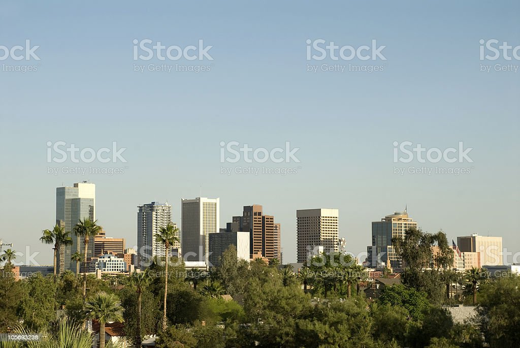 Phoenix, Arizona Skyline with Clear Skies and Palm Trees royalty-free stock photo