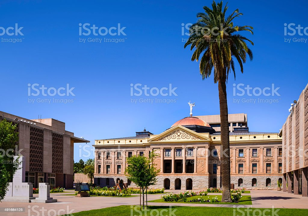 Phoenix Arizona State Capitol Building and Palm Tree stock photo
