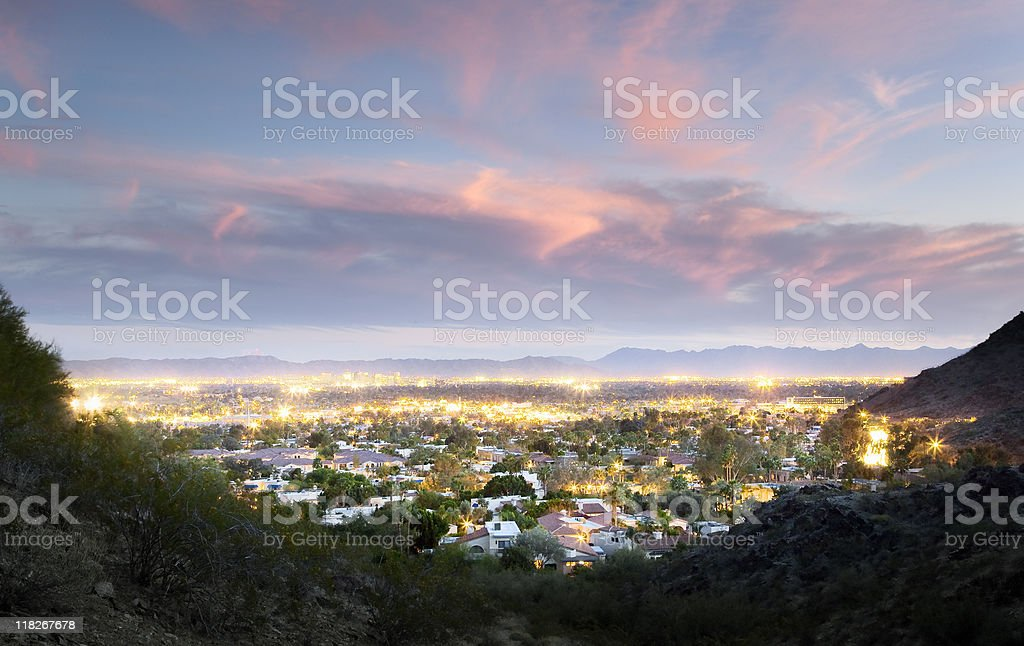 Phoenix at dusk stock photo
