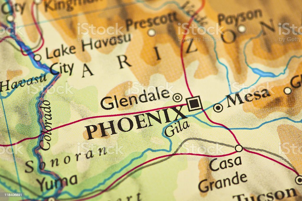 Phoenix, AZ map stock photo