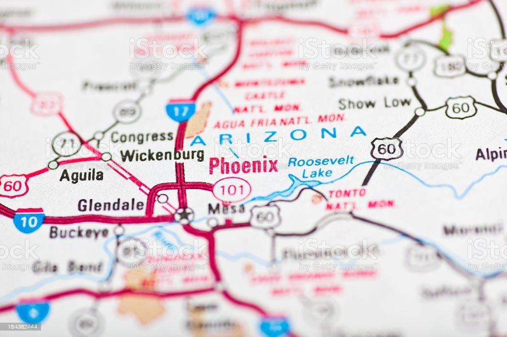 Phoenix, AZ map royalty-free stock photo