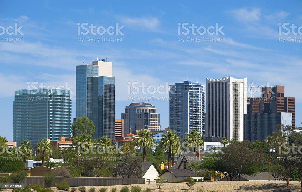 Phoenix downtown skyline and palm trees stock photo