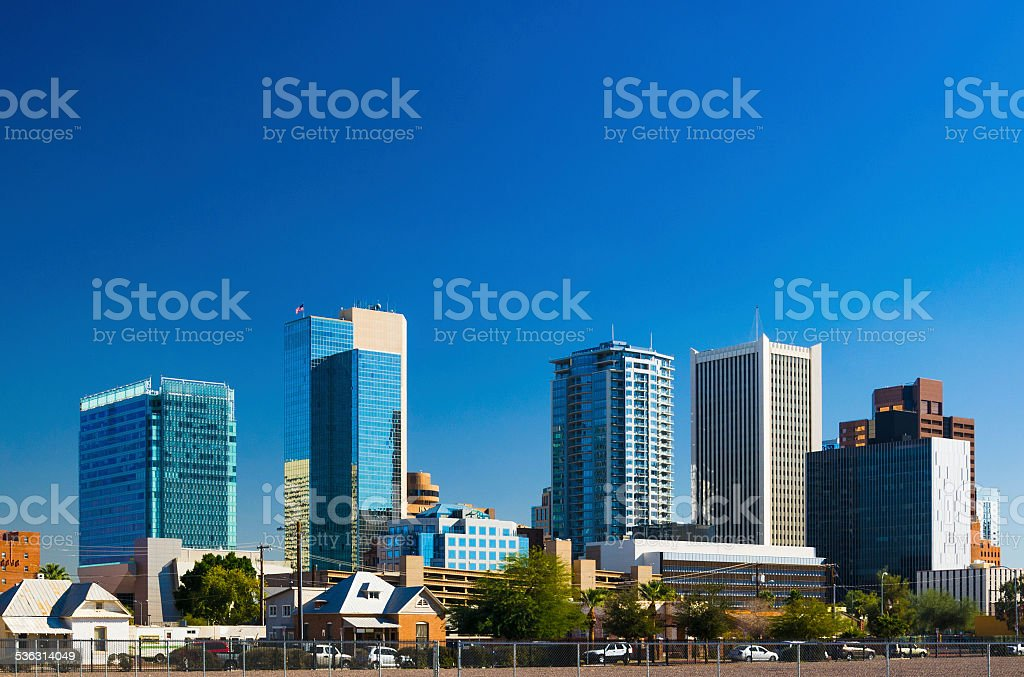 Phoenix downtown skyscrapers from closer up, and clear blue sky stock photo