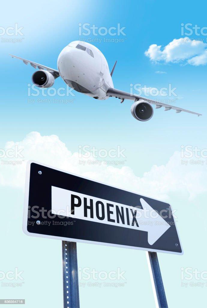 Phoenix flight stock photo