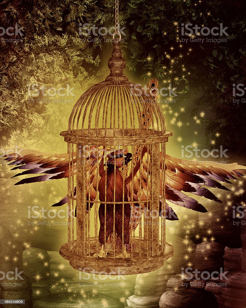 Phoenix in cage rising from the ashes stock photo