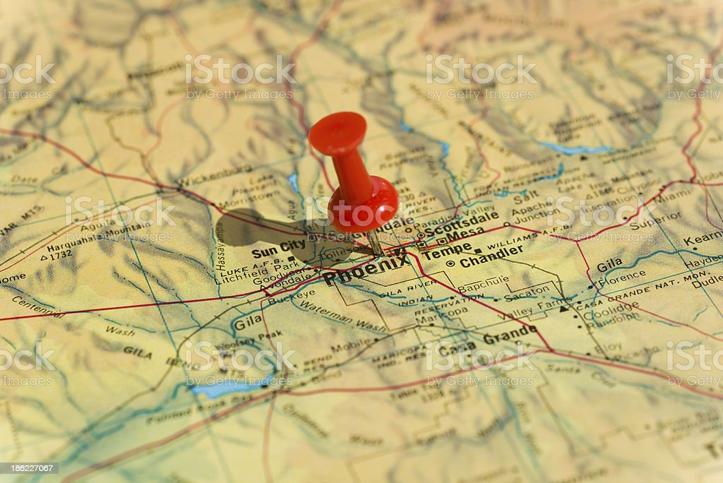 Phoenix Marked on Map with Red Pushpin stock photo