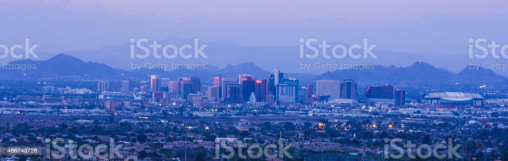 Phoenix on sunset stock photo
