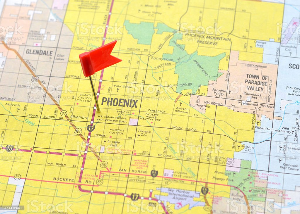 Phoenix on the Map stock photo