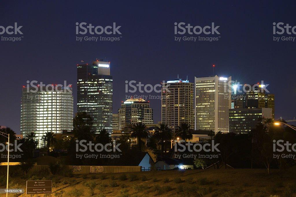 Phoenix skyline at Night stock photo