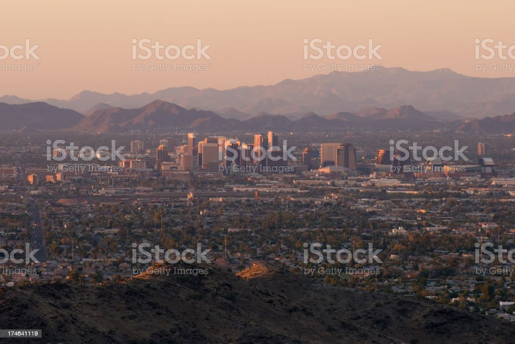 Phoenix Skyline at Sunset stock photo