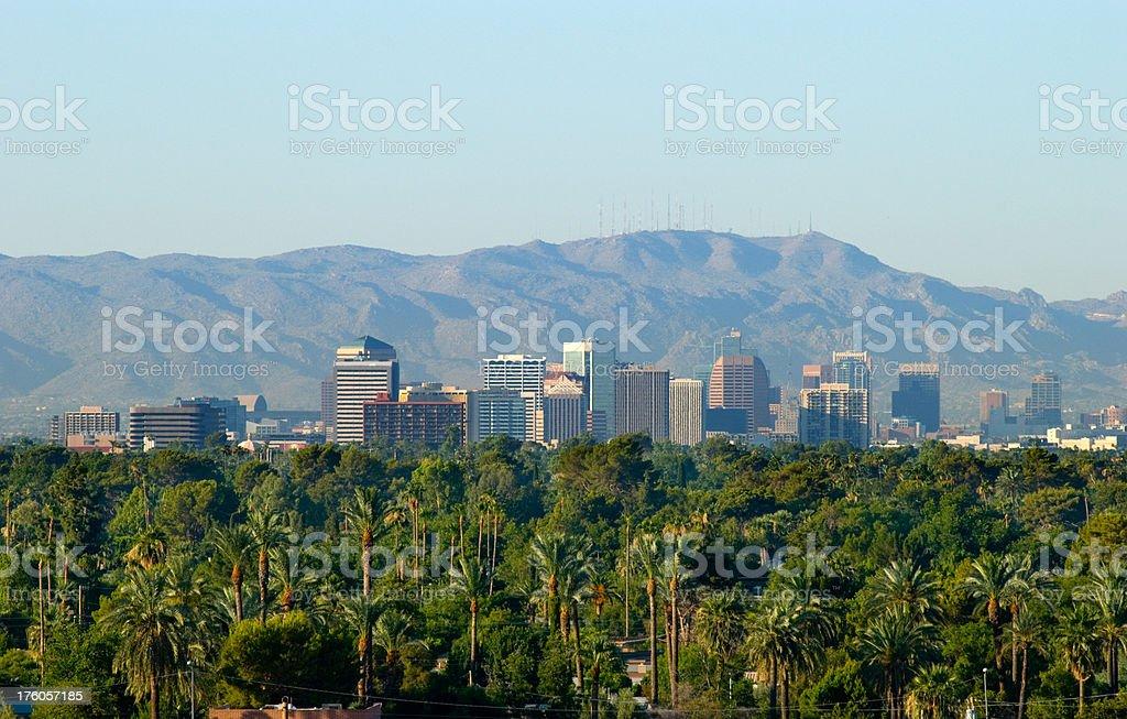 Phoenix skyline, mountains, and trees stock photo