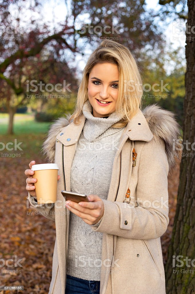 phone and coffee royalty-free stock photo