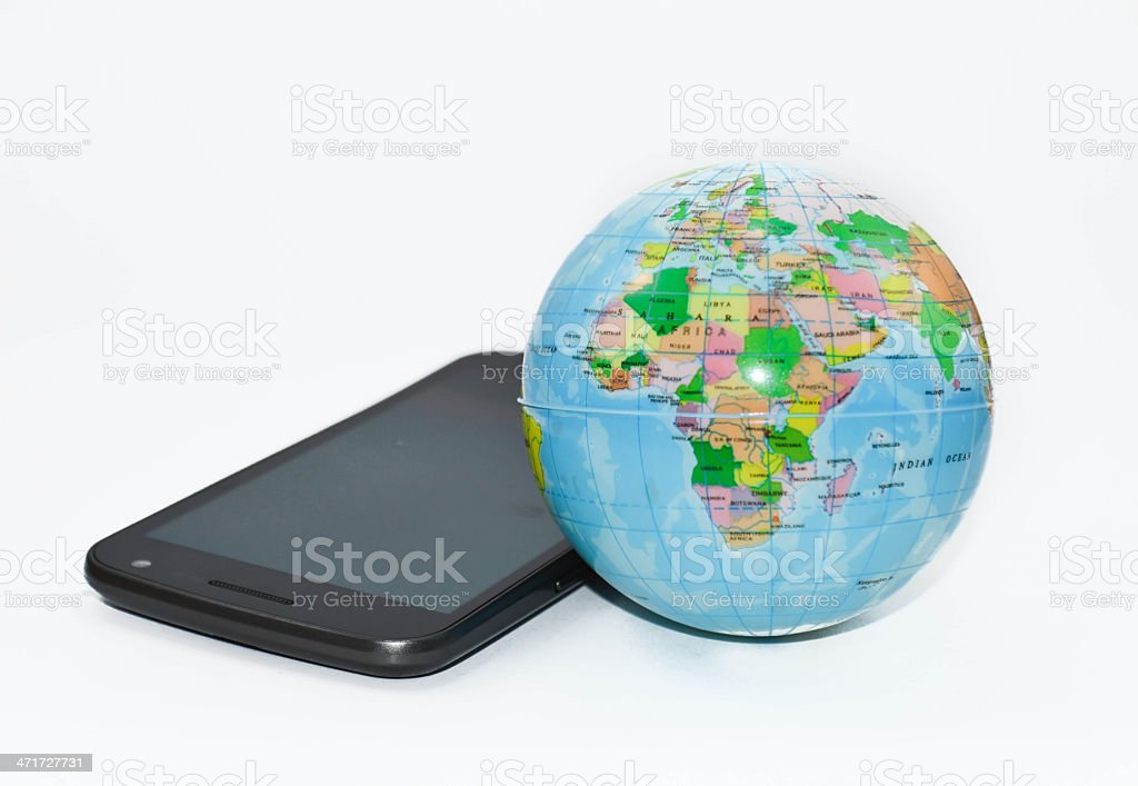 Phone and Globe communication africa in front royalty-free stock photo