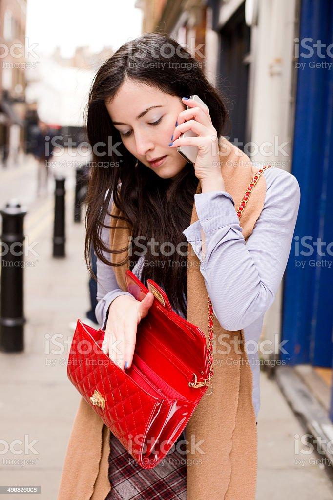 phone and handbag royalty-free stock photo