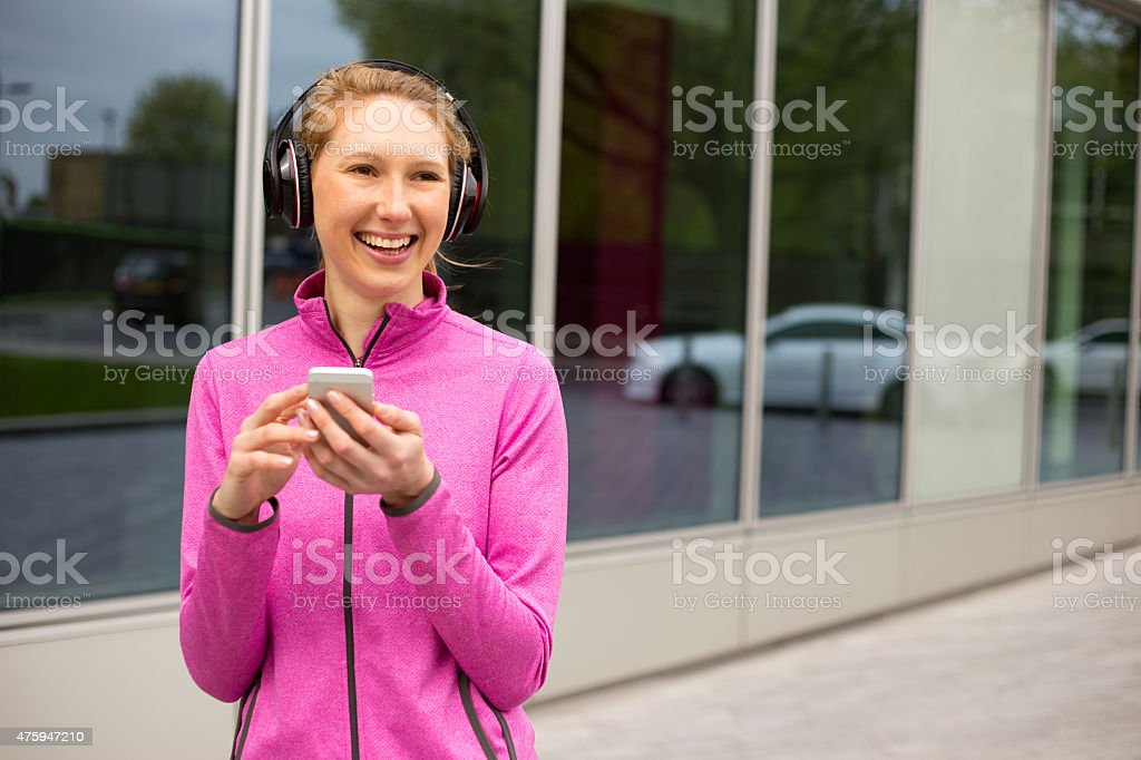 phone and headphones royalty-free stock photo