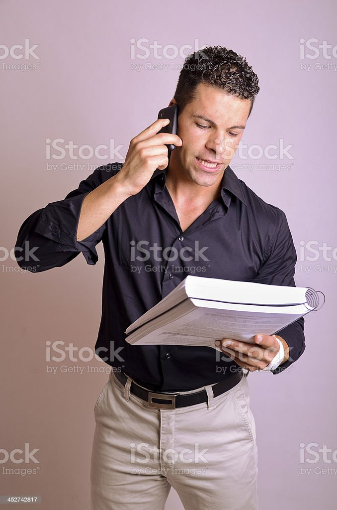 Phone and notebook stock photo