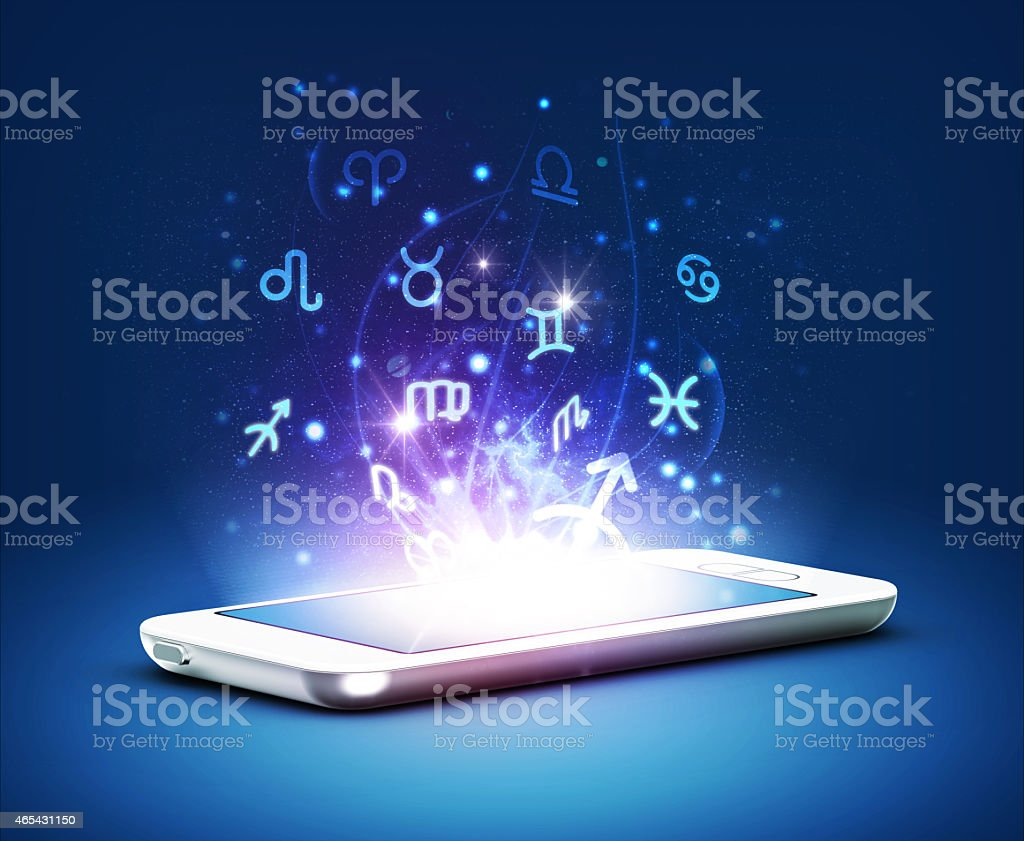 Phone and zodiac stock photo