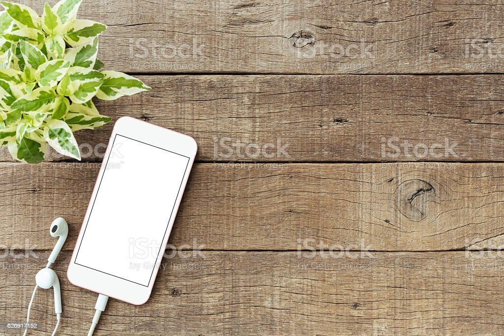 phone blank white screen on old wood table, mockup phone stock photo