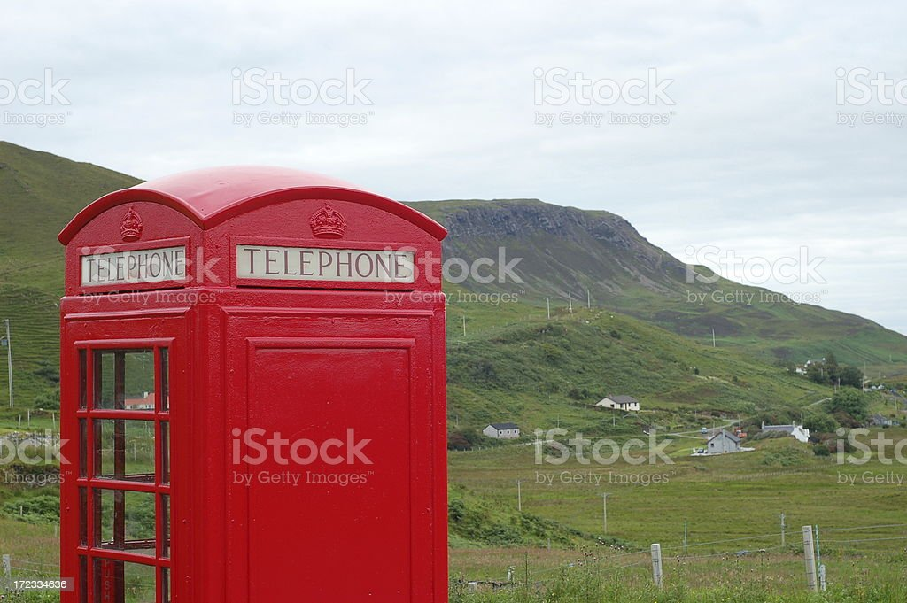 Phone booth in Isle of Skye, Scotland royalty-free stock photo