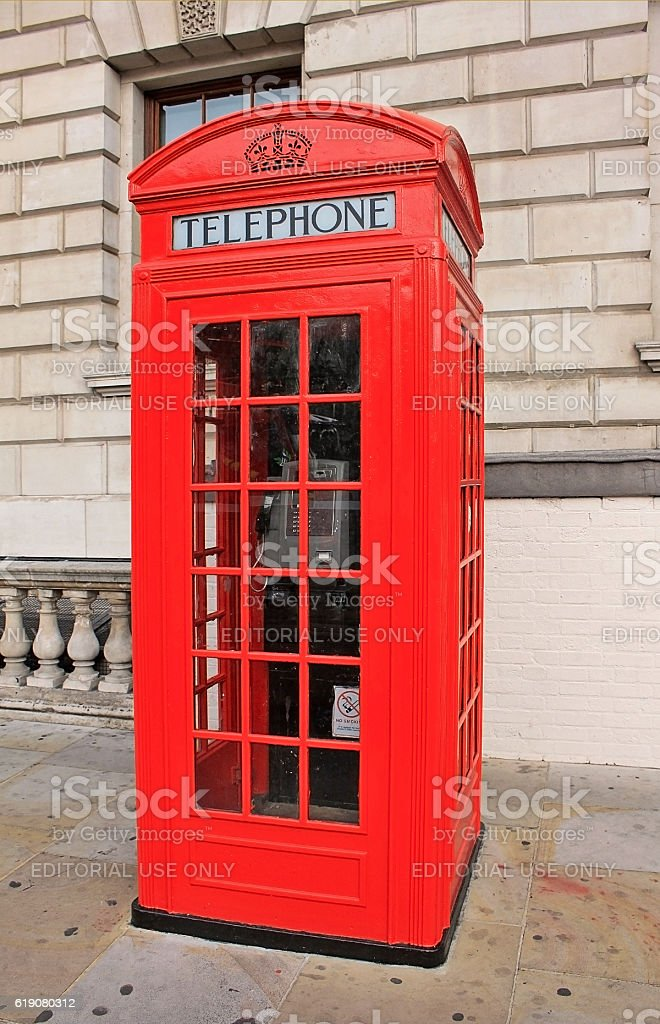 Phone booth in London stock photo