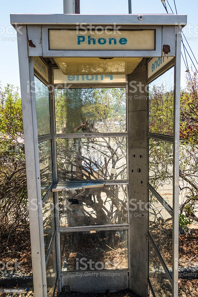 Phone booth ruins stock photo