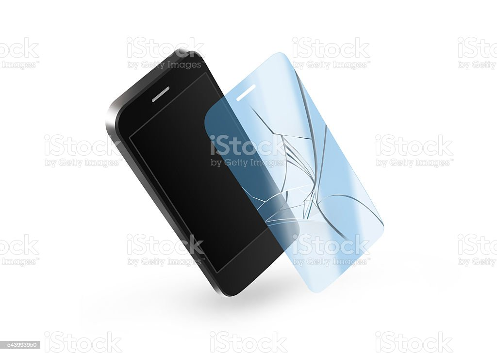 Phone broken protection glass with screen. Smartphone display stock photo