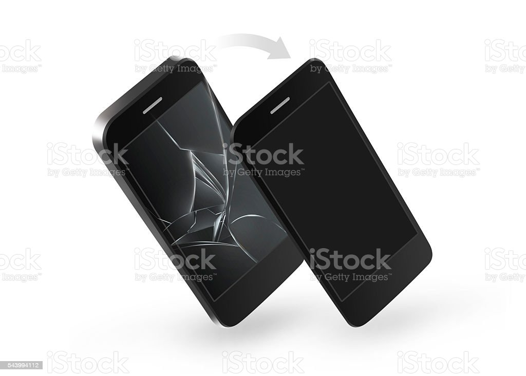Phone broken screen repair. Change of crashed glass touchscreen stock photo